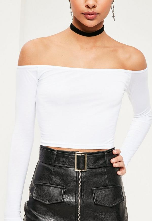 Long Sleeve Jersey Bardot Crop Top White | Missguided