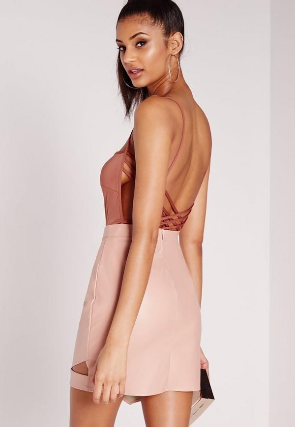 Square Neck Strappy Back Bodysuit Pink