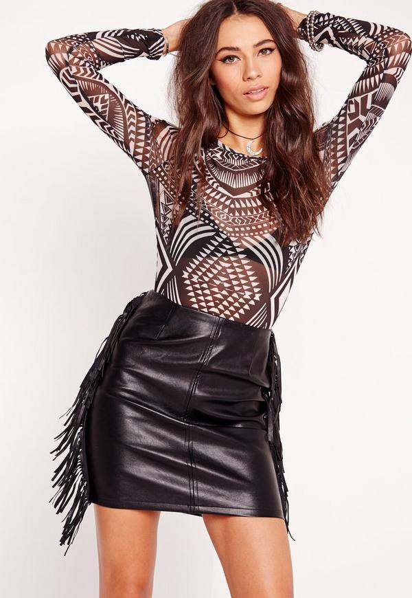 Tribal Print Mesh Long Sleeve Bodysuit Black