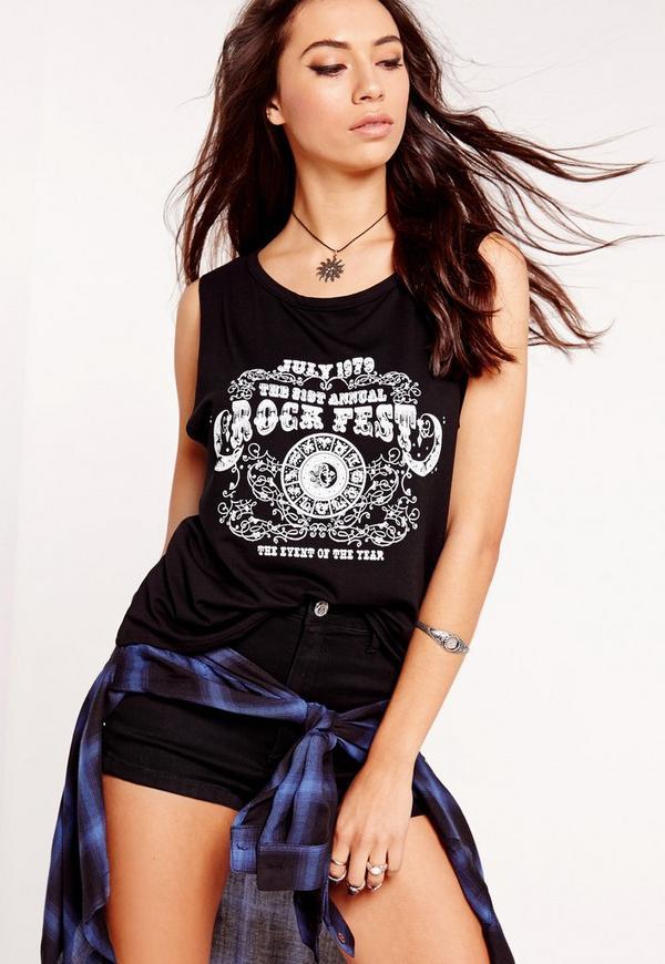 Rock Fest Slogan Vest Black