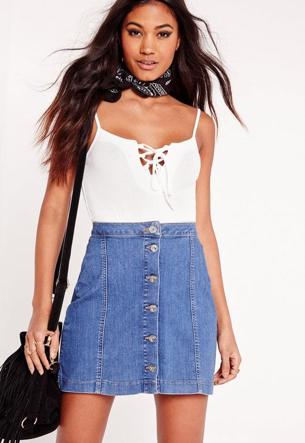 Lace Up Rib Cami White
