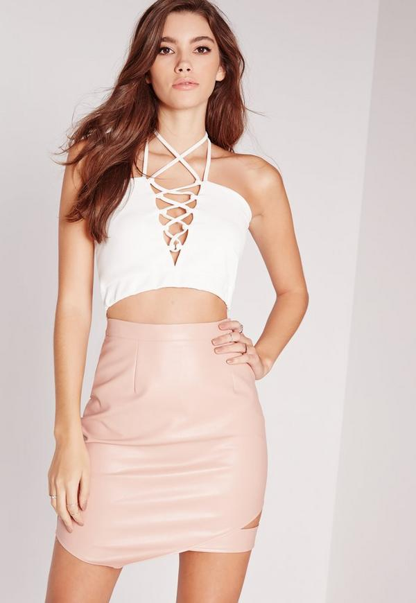 Halter Neck Lace Up Bralet White