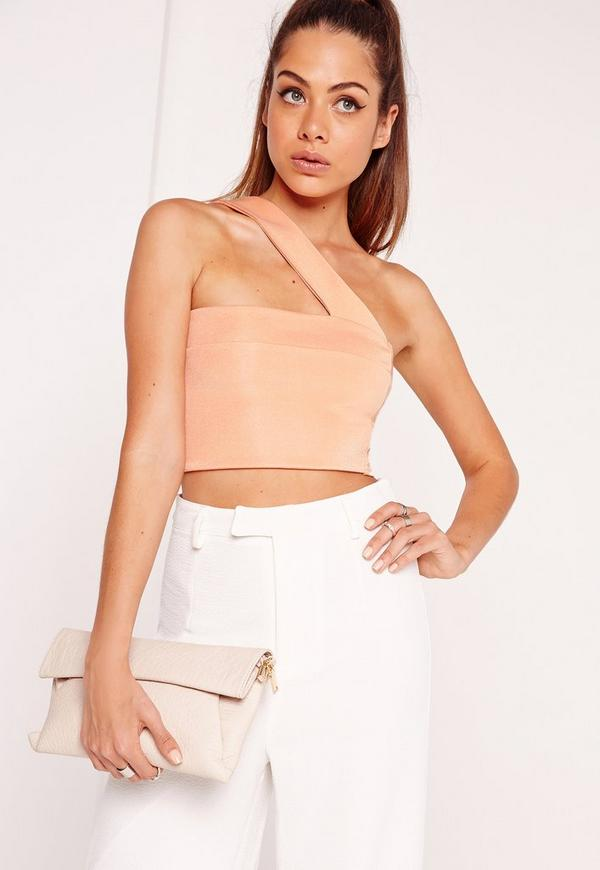 One Shoulder Strap Crop Top Nude