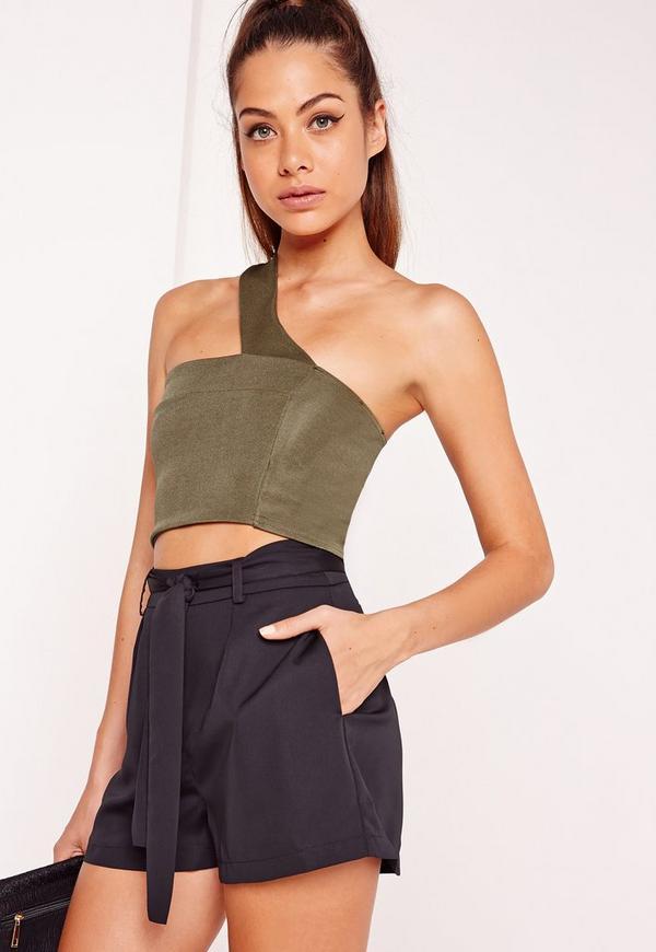 One Shoulder Strap Crop Top Khaki