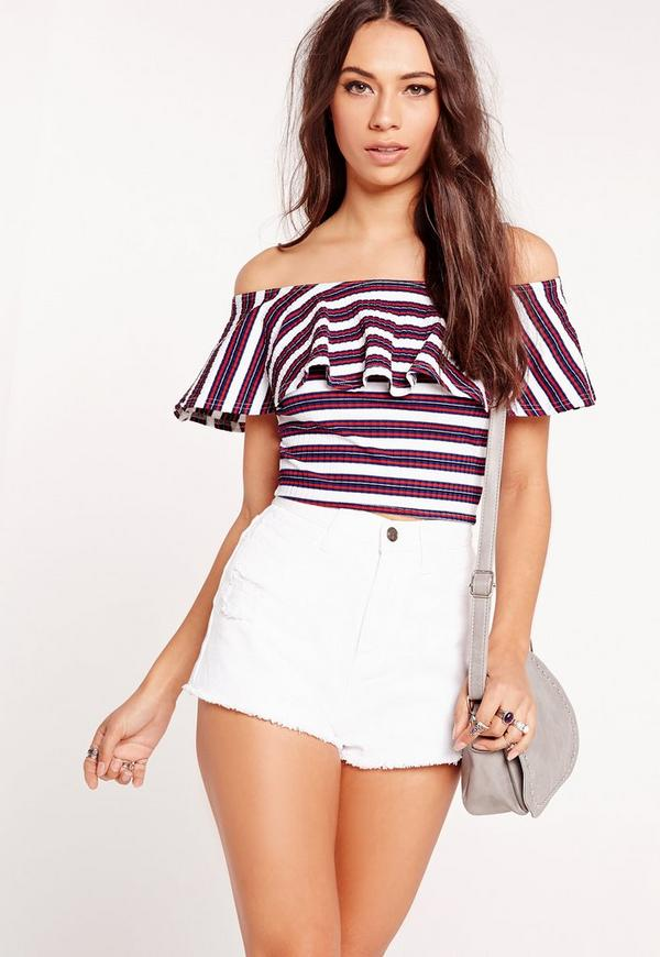 Ribbed Frill Stripe Bardot Crop Top Red/White