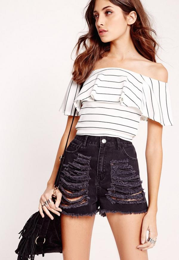 Ribbed Frill Stripe Bardot Crop Top Black/White