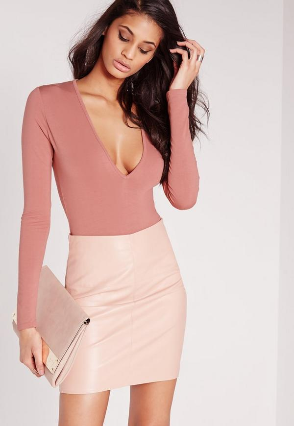 Long Sleeve V Neck Bodysuit Pink