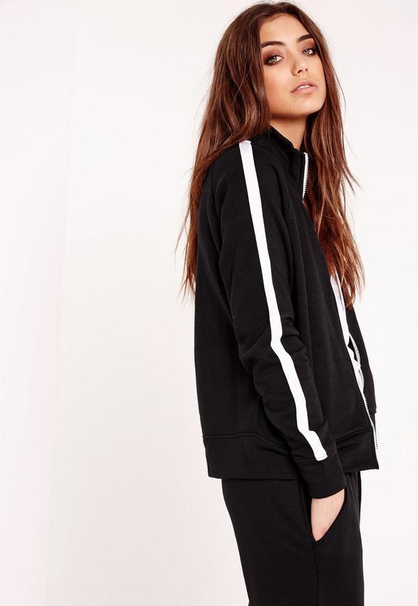 Contrast Zip Through Jacket Black