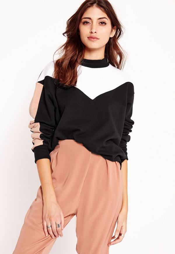 colour block panel sweatshirt black