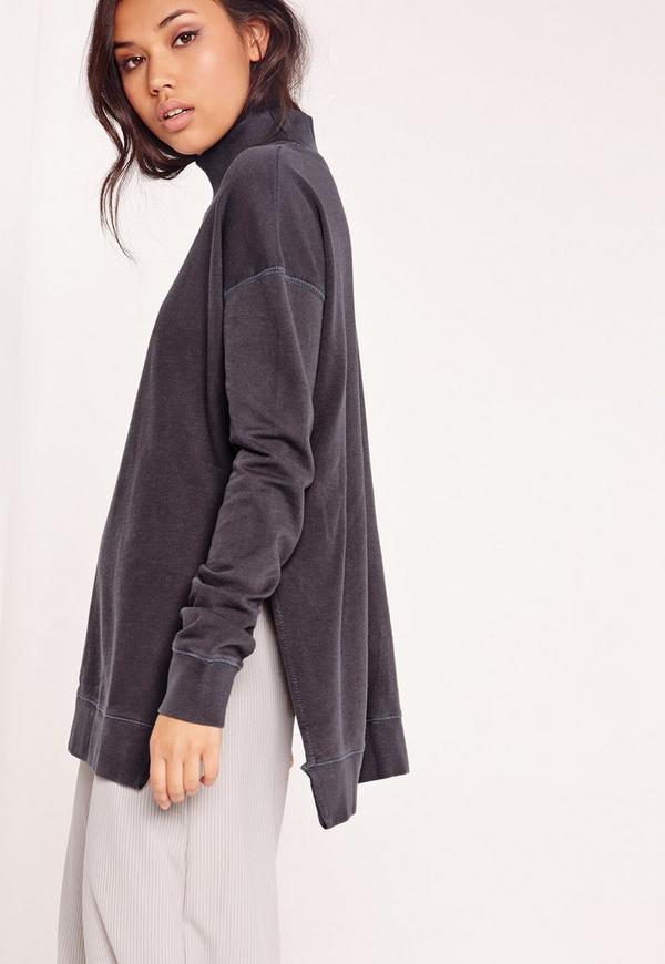 High Neck Side Split Sweatshirt Grey