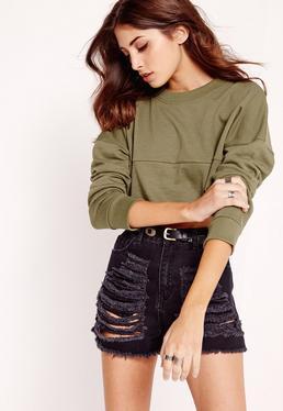 Cropped Panel Sweatshirt Khaki