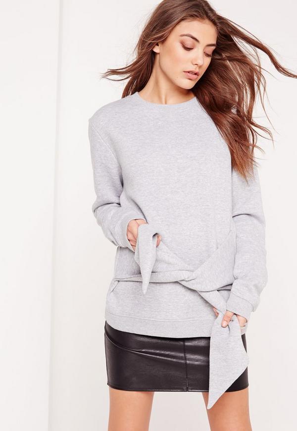 Tie Front Sweatshirt Grey