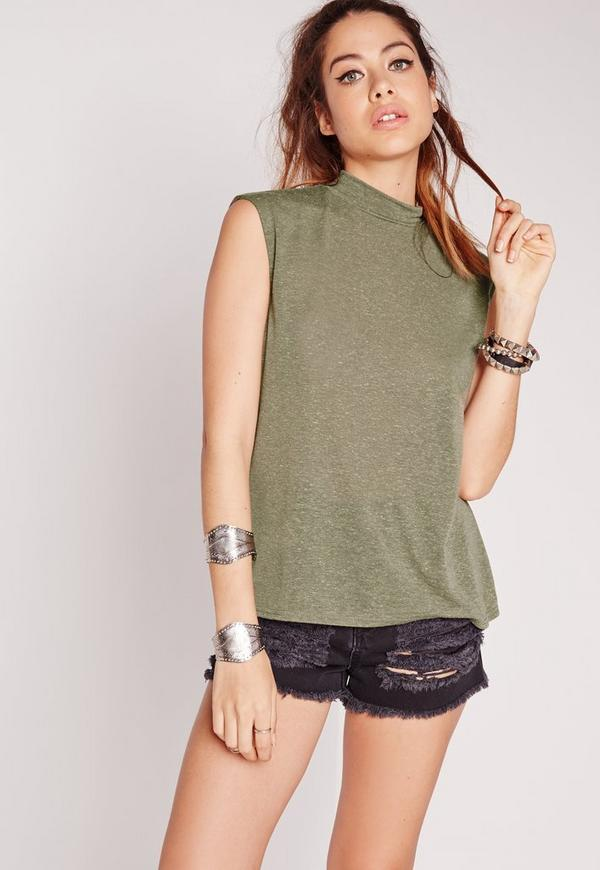 Turtle Neck Scoop Armhole Khaki
