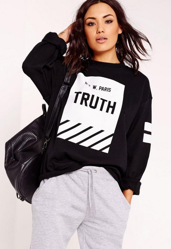 truth slogan sweatshirt black