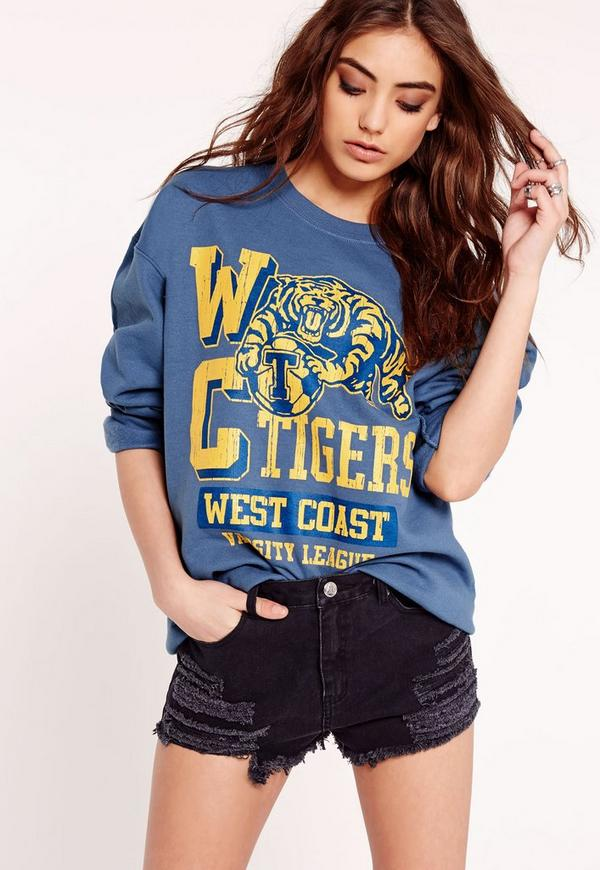 wc tigers slogan sweatshirt blue