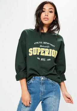 Green Washed Superior Slogan Sweatshirt