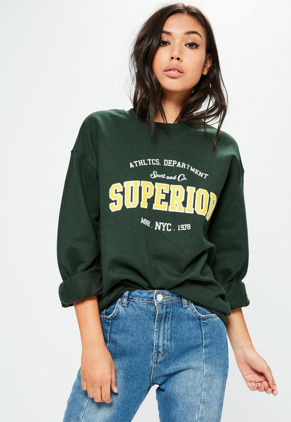 Green Washed Superior Slogan Sweatshirt