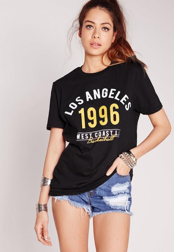 Los Angeles 1996 Slogan T-Shirt Black