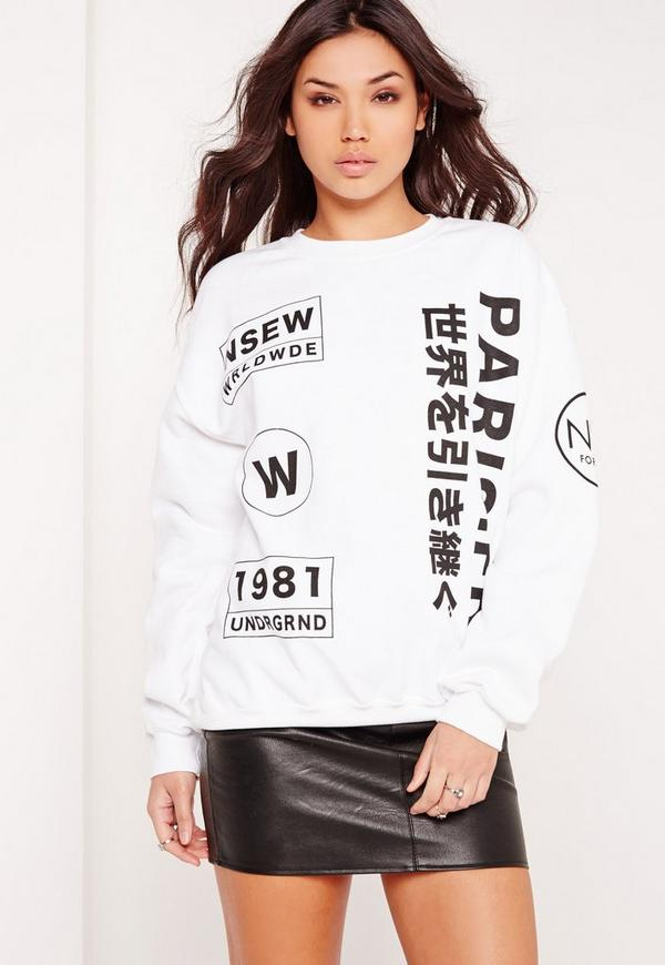 Paris Slogan Sweatshirt White