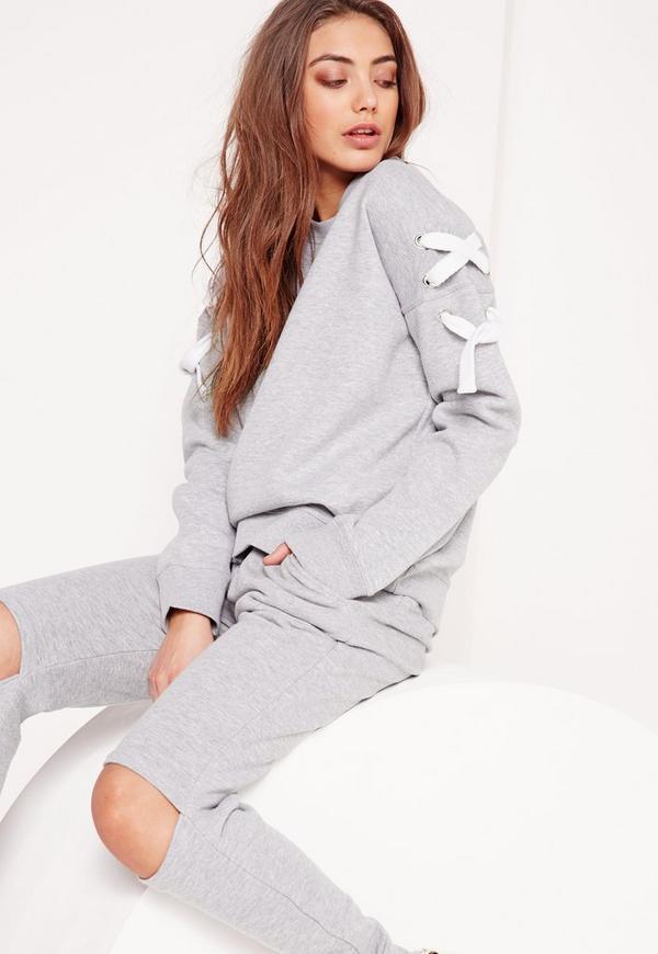 Chunky Lace Up Sleeve Sweatshirt Grey