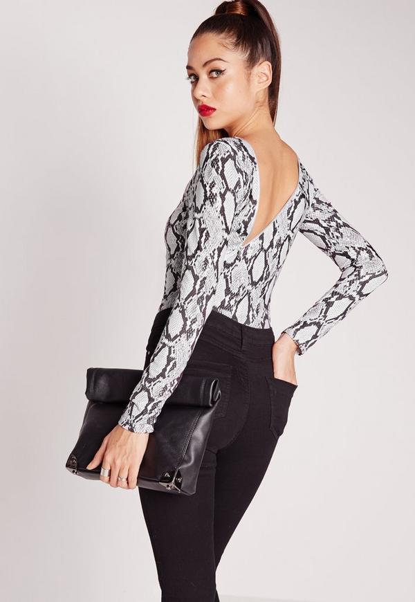 Zip Back Bodysuit Snake Print Grey