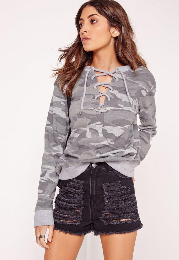 Camo Lace Up Front Eyelet Sweater Grey