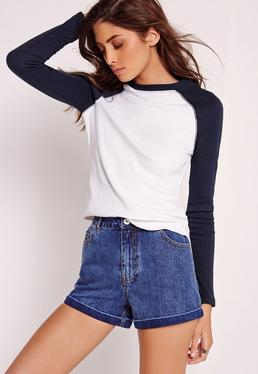 Rib Raglan Top White With Navy Sleeve