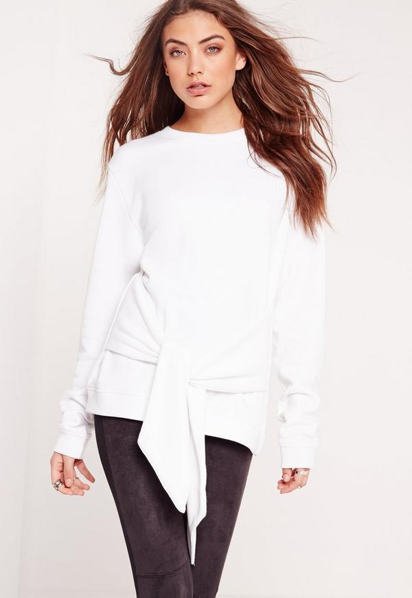 Tie Front Sweatshirt White