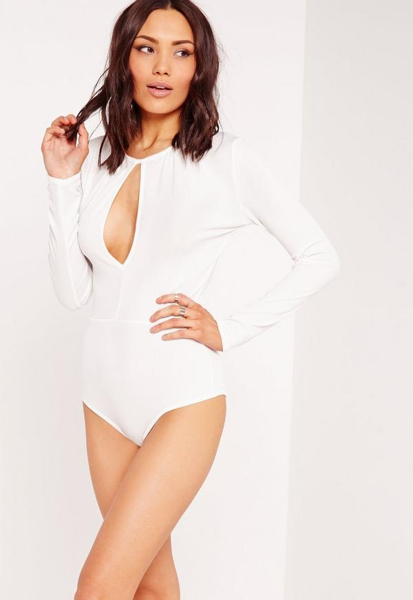 Keyhole Detail Ribbed Bodysuit White