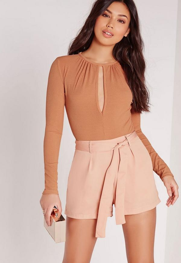 Keyhole Detail Ribbed Bodysuit Orange