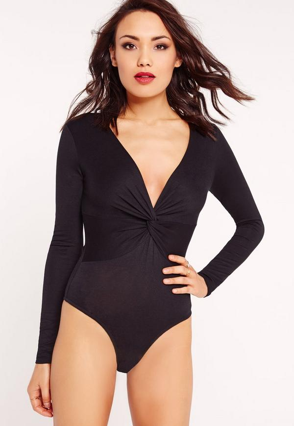 Jersey Twist Front Bodysuit Black