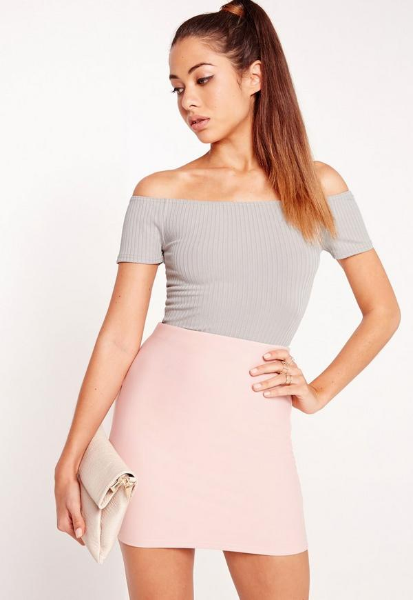 Jumbo Rib Bardot Crop Top Grey