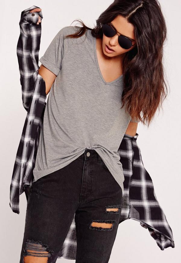 Boyfriend V-Neck T-Shirt Grey Marl