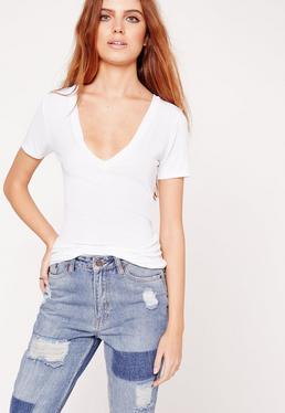 Ribbed Basic V-Neck T-Shirt White