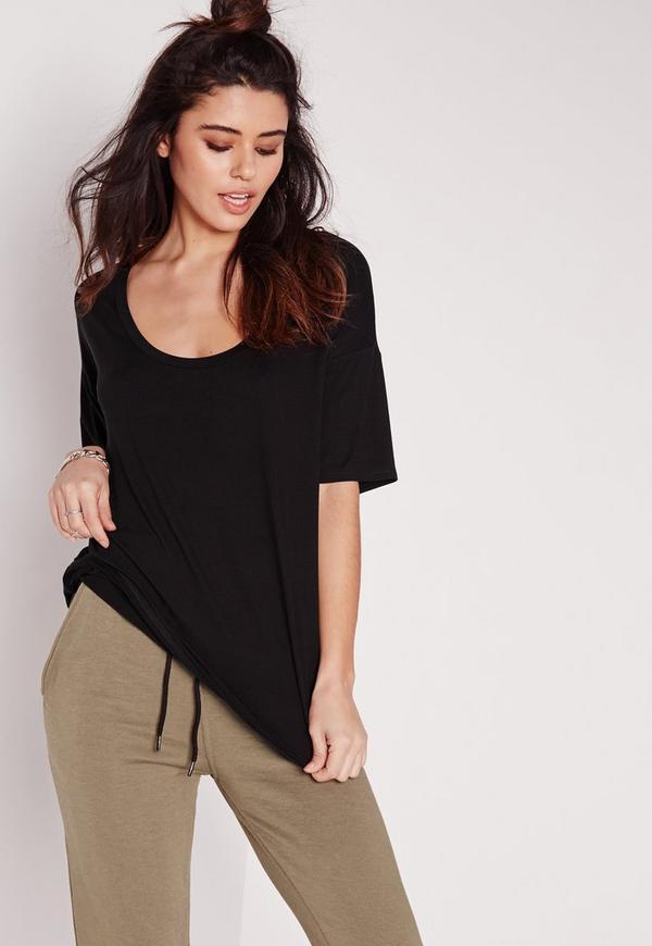 Scoop Neck T Shirt Black