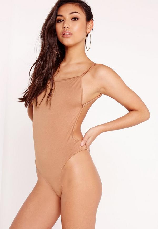 Backless Crepe Bodysuit Camel
