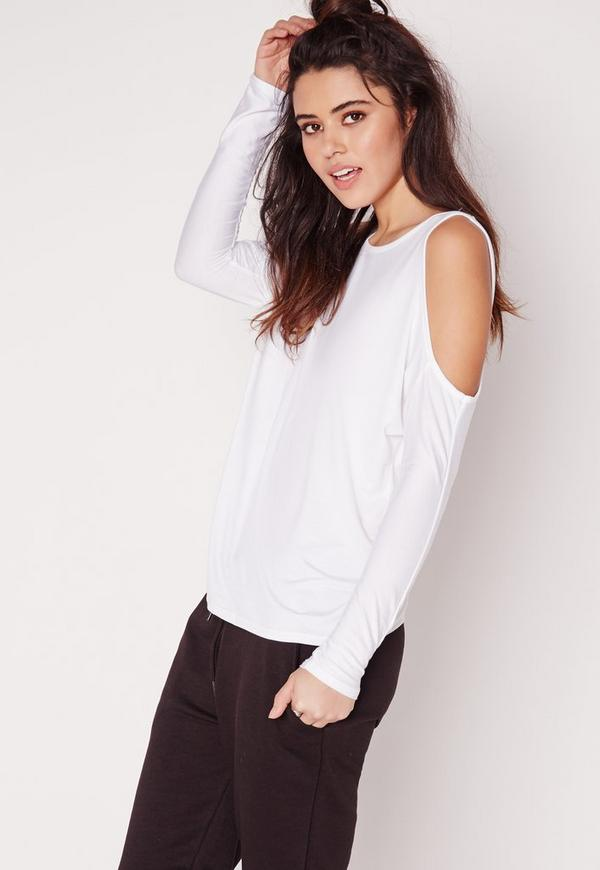 Cold Shoulder Tunic Top White