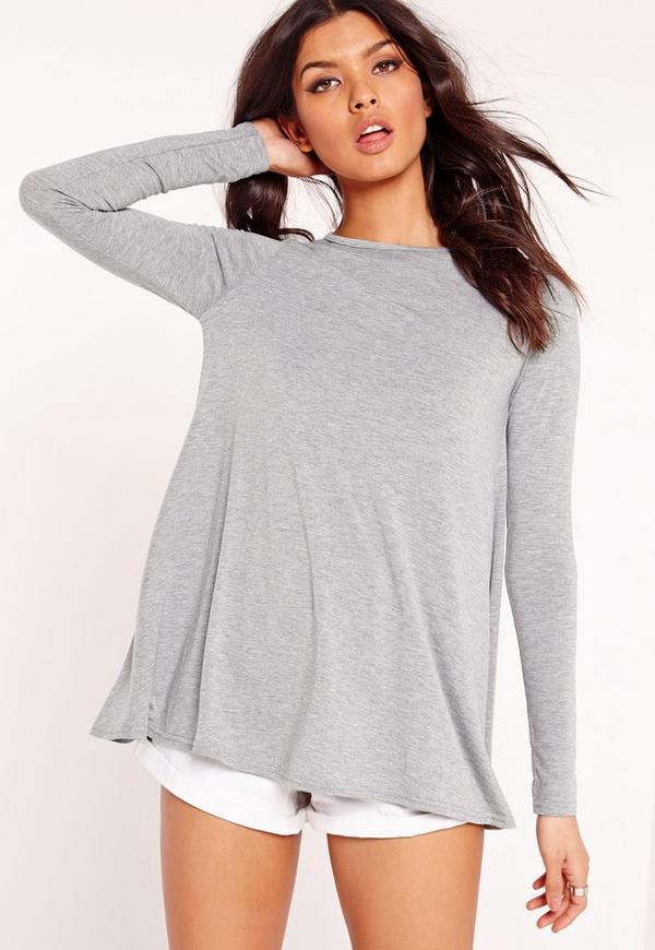 Long Sleeve Swing Top Grey