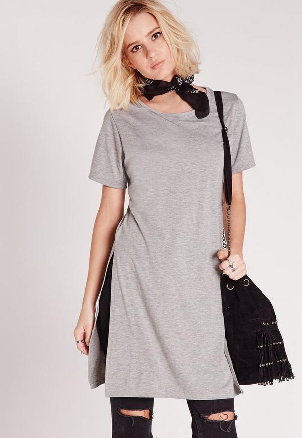 Split Side T-Shirt Grey Marl