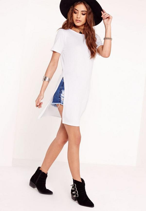 Split Side T-Shirt White