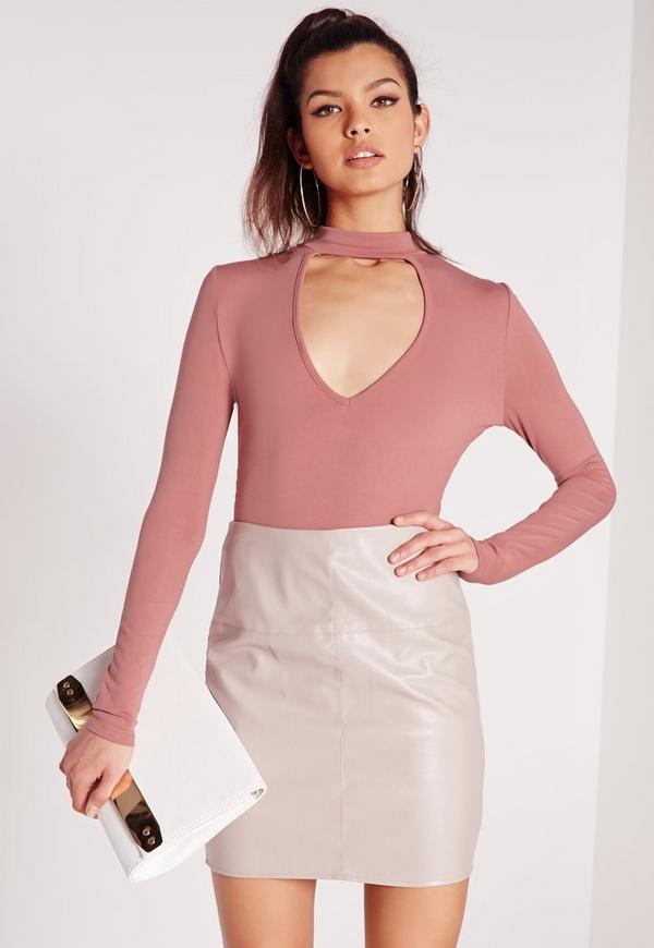 Choker Plunge Bodysuit Rose