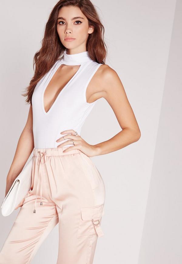 Choker Sleeveless Bodysuit White