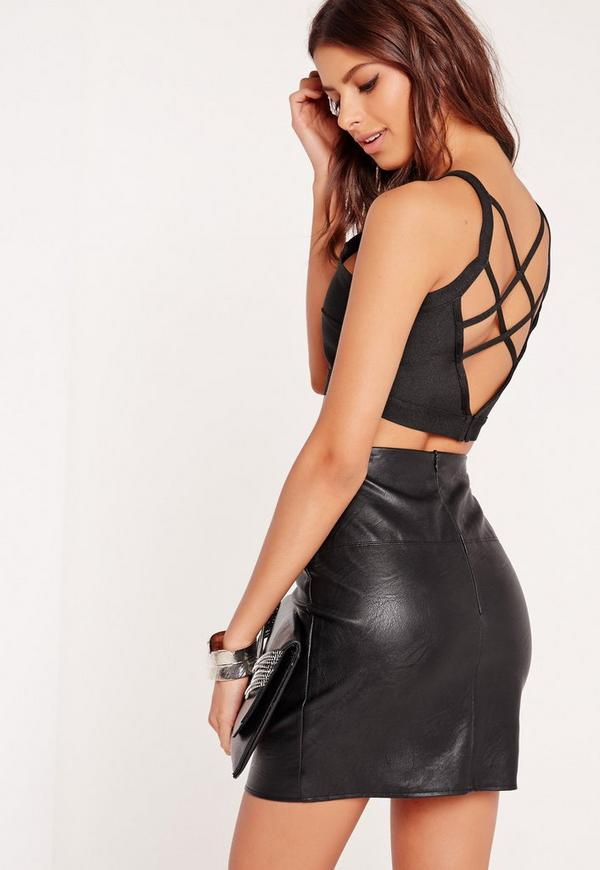 Criss Cross Strap Back Bandage Bralet Black