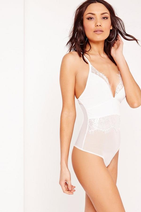 Cross Over Back Lace Detail Bodysuit White