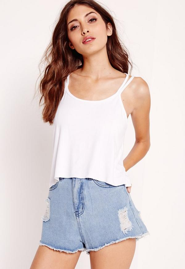 Double Strap Swing Cami Top White