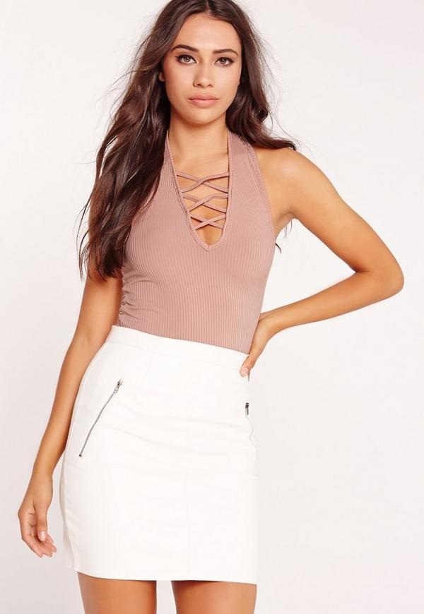 Ribbed Lace Up Halter Neck Vest Nude