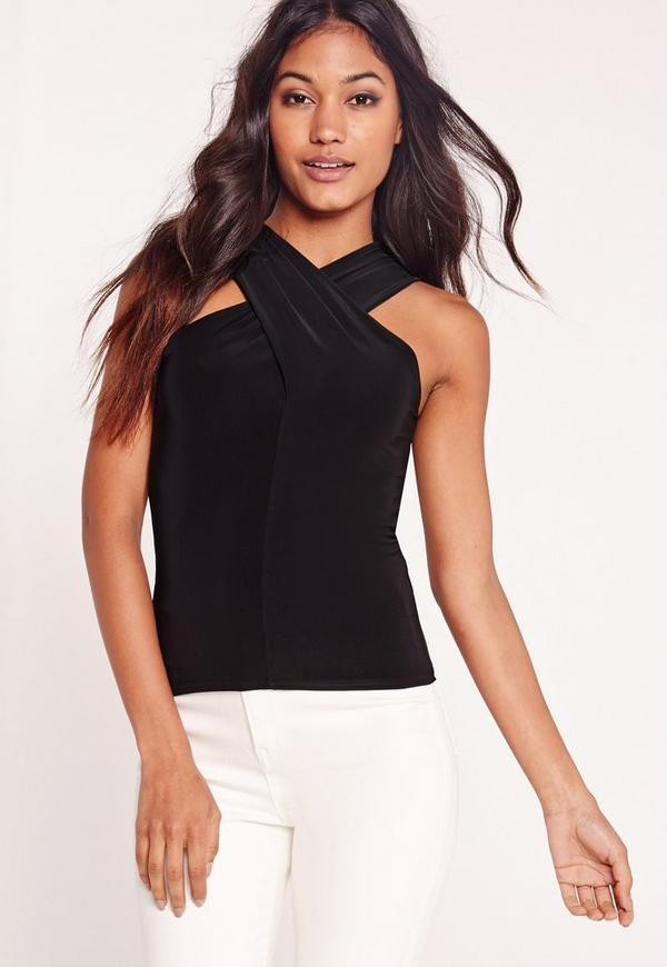 Jersey Wrap Neck Vest Top Black