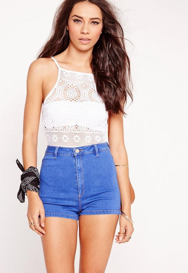 Jersey Lace Bodysuit White