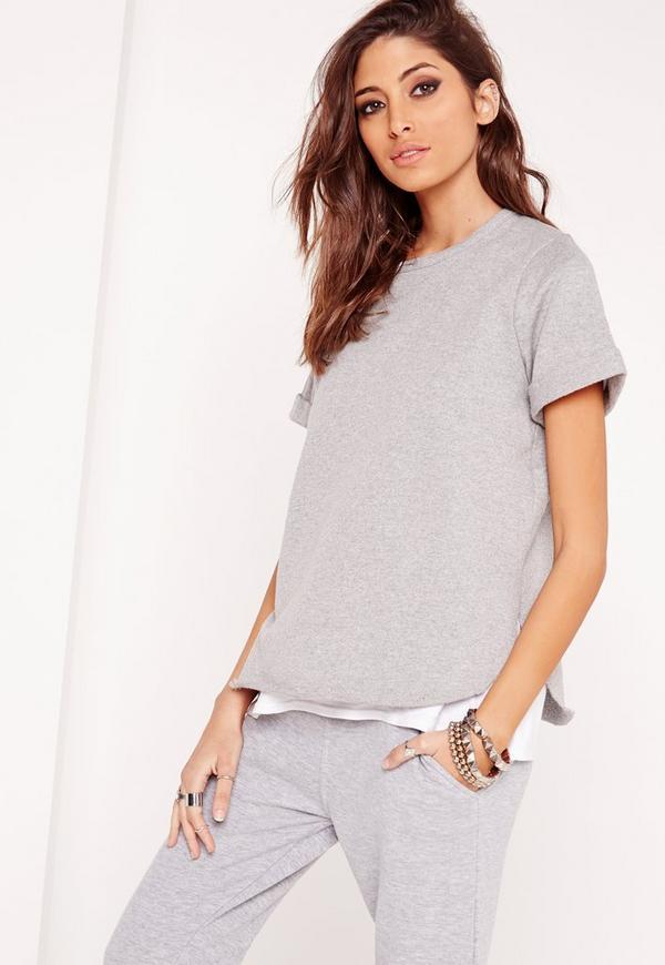 Short Sleeved Sweatshirt Grey