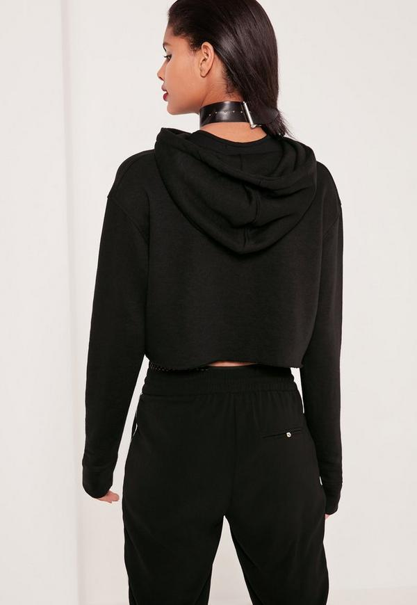 Cropped Hooded Sweatshirt Black | Missguided